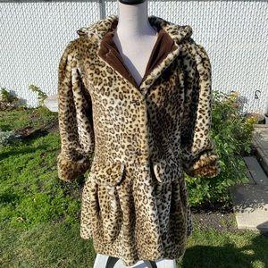 Vintage Leopard Print Faux Fur Peplum Hooded Jacket